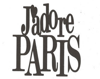 J'adore Paris word silhouette
