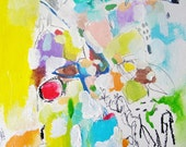 Pop - Mixed Media Original- 11x15, Bright, Colorful, Abstraction