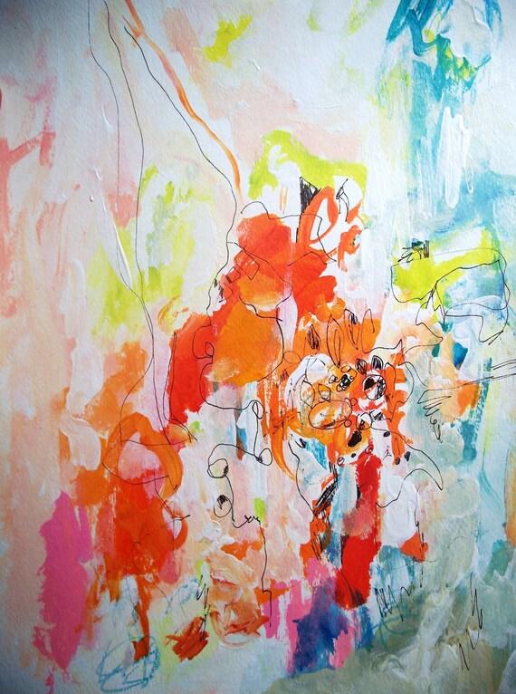 She's All Heart- Mixed Media Original Painting- 11x15, Abstract, Bright, Fresh
