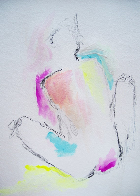 Languid- Original Drawing of the Female Figure- 11x15, abstract, impressionistic