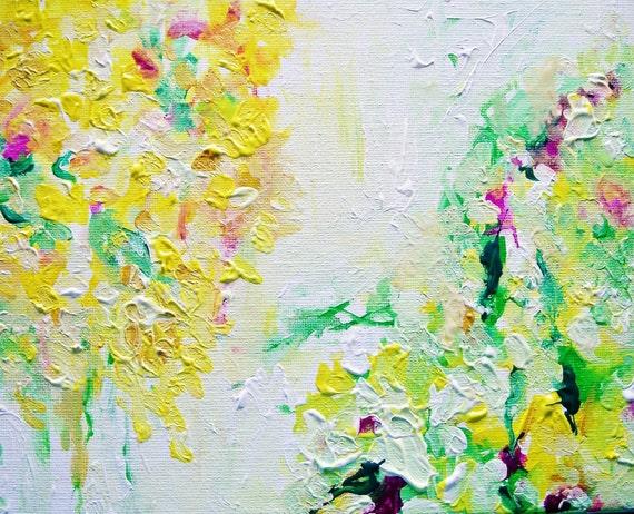 Honeysuckle- Original Painting- 10x8 Canvas, Beautiful Springy Floral