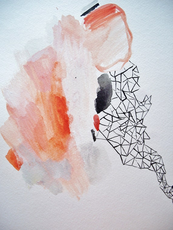 Coral & Jet- Mixed Media Original- 11x15- Beautiful, Intricate, Abstraction