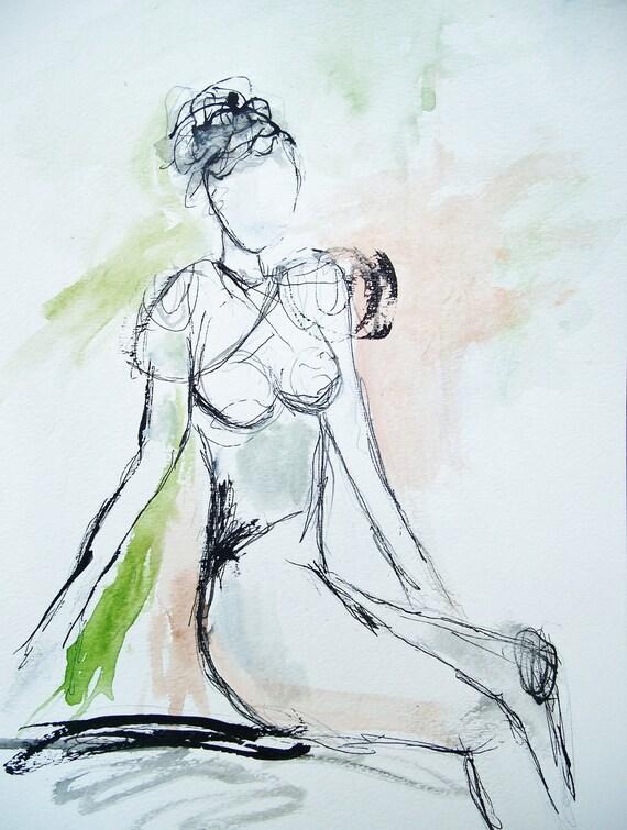 Ponder- Original Figure Sketch- 9x12- Pencil, Ink, Watercolor