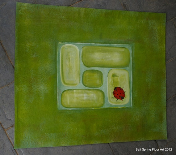 Painted Kitchen Floor Cloth: Hand Painted Canvas Moss Green Floor Cloth Mat With Ladybug