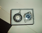 VINTAGE WEBSTER PENDANT WATCH BLACK and CLEAR ROUND DESIGN