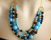 Teal, Black and Gold Triple Strand Bib Necklace, Turquoise, Beaded, Quatrefoil, Random Acts of Luckiness