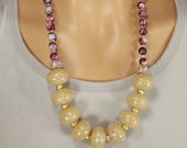 Long Beaded Statement Necklace, Gold, Mauve, Dark Red, Neutral, Chunky, Large, Anthropologie Necklace, Golden Cranberry Glow