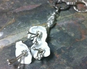 White Flower Boquet Upcycled Fused Plastic Gunmetal Statement Necklace