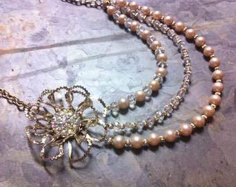 Gold Asymmetrical Pearl and Crystal Flower Brooch Statement