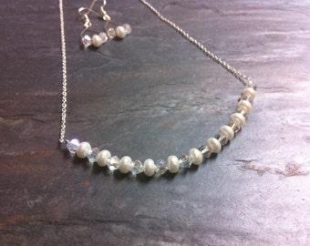 Simple Diamond White Pearl Swarovski Crystal Silver Bridal Wedding Necklace Set Earrings Chain, Kiss the Bride