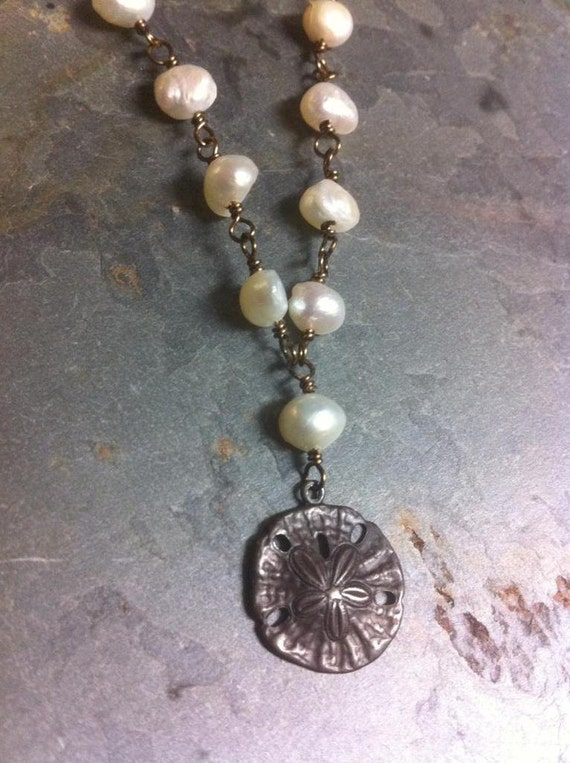 Freshwater Pearl and Antiqued Bronze Necklace Relic of Atlantis