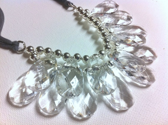 Crystal Clear Stormy Seas Briolette Double Strand Bib Statement Necklace Jersey tie Anthropologie, Perfect Storm
