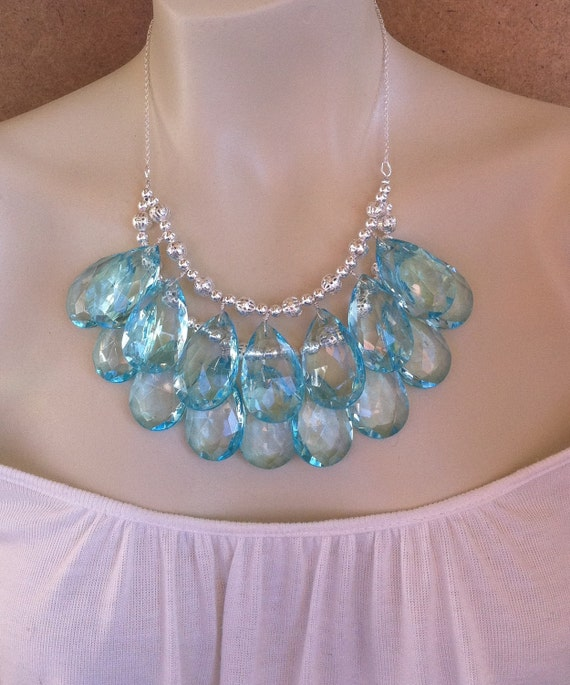 Beautiful Silver and Aqua Briolette Double Strand Necklace Bridal Necklace, Stormy Seas Anthropologie Tiffany Skies