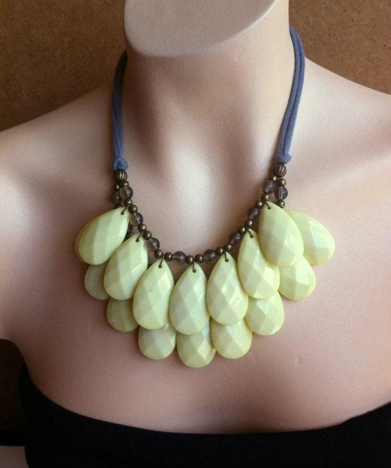 Honey Dew Pale Yellow Double Strand Briolette Bib Statement Necklace Gray Jersey Ties, Lemon Chiffon