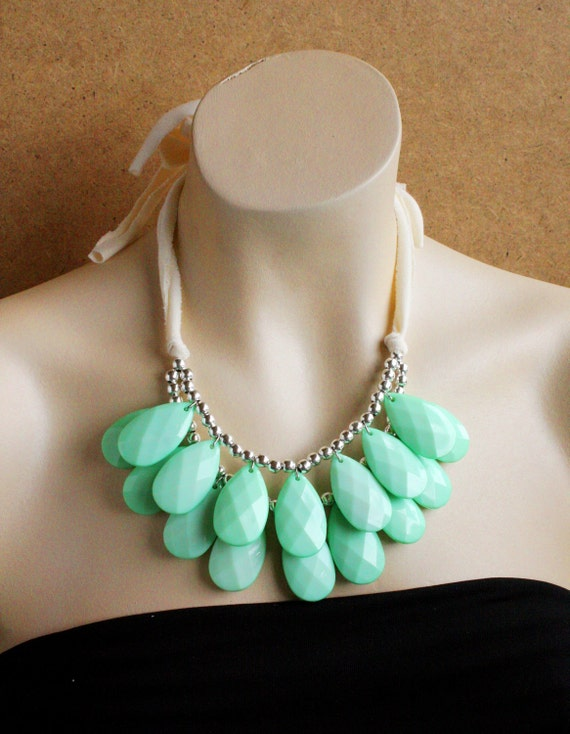 Big Double Strand  Briolette Bib Statment Necklace Chunky Sea Foam Green, Mint, Stormy Seas Anthropologie, Perfect Storm