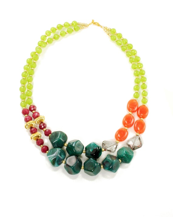 Bright Chunky Citrus Colorful Double Strand Statement Necklace, Anthropologie Necklace, Orange, Green, Red, Teal, Gold, Summer Slice