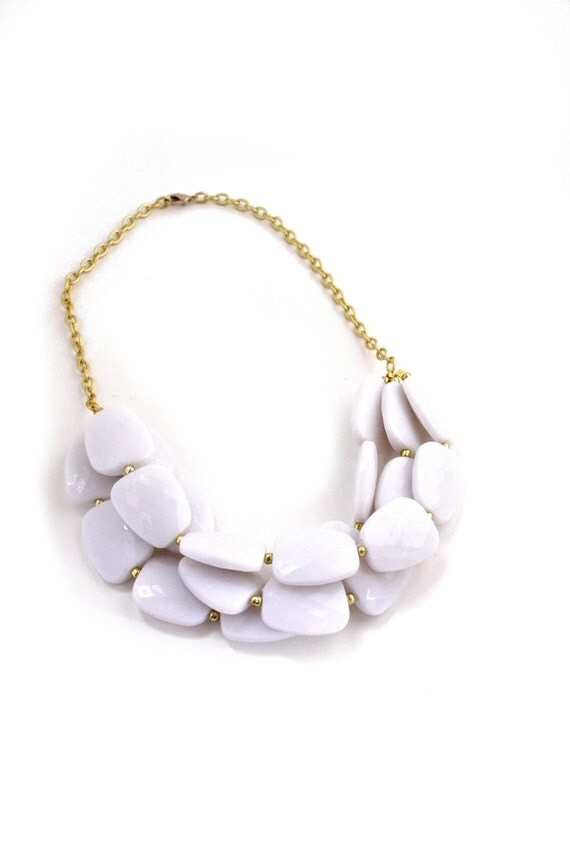 Large Chunky White Triple Strand Beaded Bib Necklace, Pure Snow