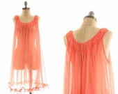 50s Pink Sheer Baby Doll Night Gown / Retro Nighty Princess Baby Doll / Small