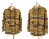 Mens 70s Hunter Brown Plaid Winter Western Jacket XL