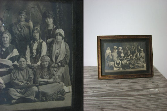 Antique Halloween Framed Photo of Ladies in Costumes