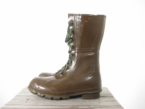 Mens 60s Olive Green Rubber Warter Proof Hunter Swamp Lace Up Boots 10