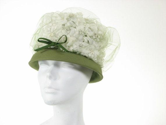 60s Green White Floral Garden Tea Party Wild  Funky Cake Hat
