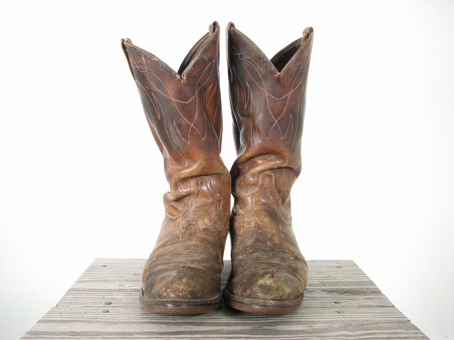 Mens Rugged Brown Distressed Western Cowboy Boots 10