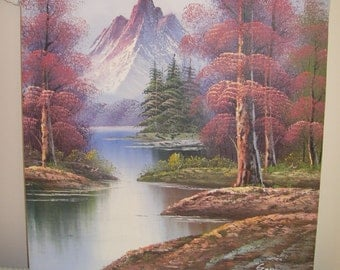 Vintage mountain painting on canvis