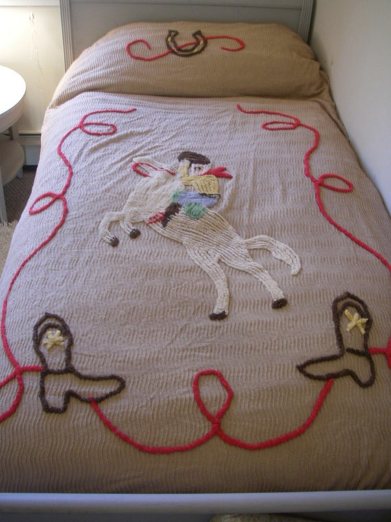 Vintage Chanille Cowboy bed spread
