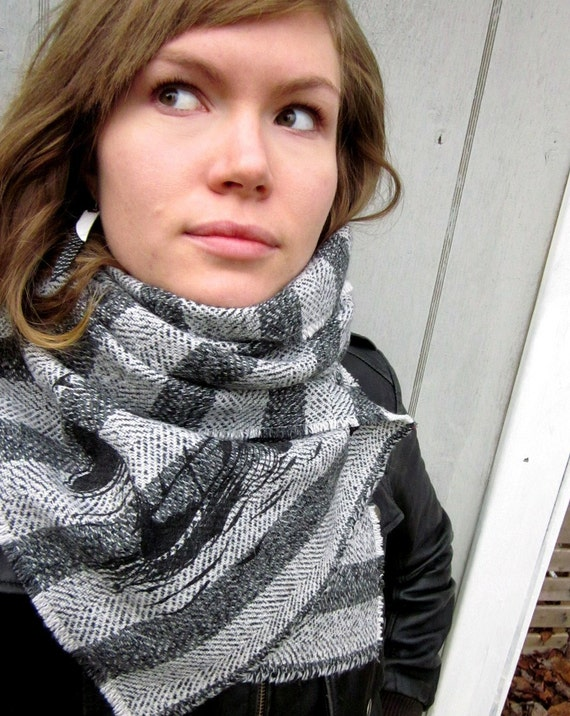 Striped Viking Ship Scarf with Black Button