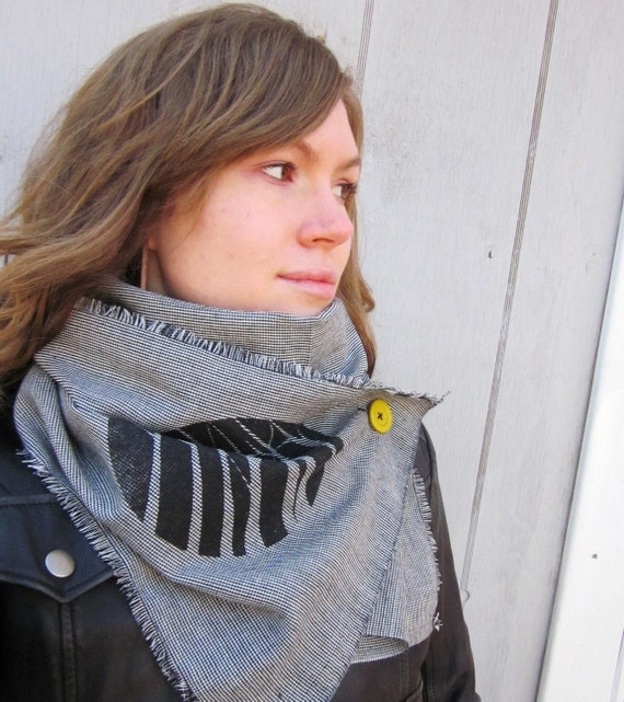 Lightweight Tree Scarf Black and White with Mustard Yellow Button