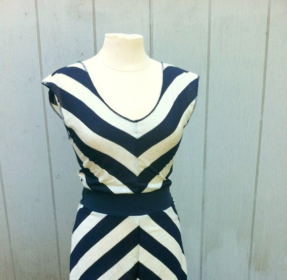 Navy Striped Dress S/M Nautical Chevron V-Neck