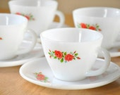 Set of 4 Vintage Fire King Cups and Saucers- Rose Print Milk Glass