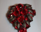 The Gay Divorcee - Mid 1930s Large Ruby Red & Pot Metal Grape/Leaves Dress Clip