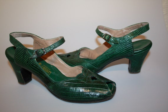 Swing Dance - 1940s WWII Green Reptile Leather Slingback Swing Shoes 8/8.5