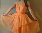 vintage 1950s peach ballerina prom dress