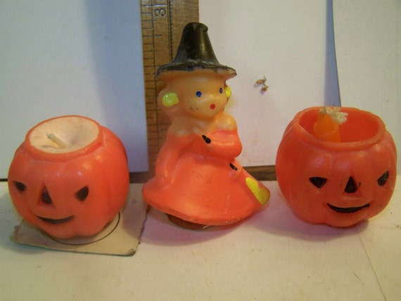 Witch candle, jack o lantern candle, gurley candle, Halloween candle