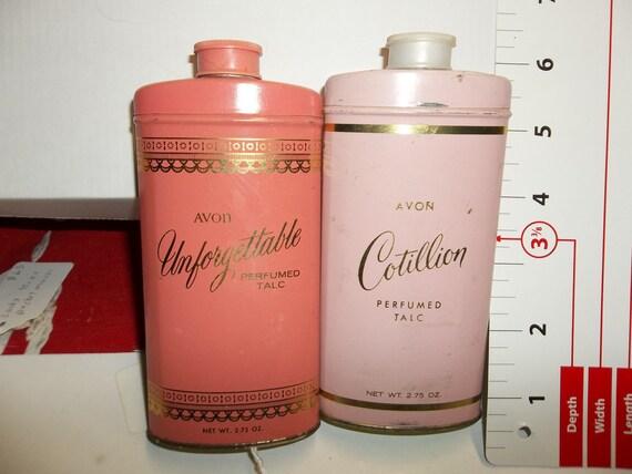 Vintage avon powder tin, Cotillion avon, Unforgettable avon, advertising tin, talc tin, powder tin