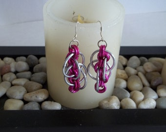 Hot Pink Dangle Chainmaille Earrings