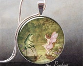 Vintage Fairy and Frog art pendant (151)