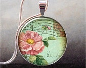 Shabby Postcard Rose art pendant, antique rose necklace resin pendant, rose jewelry