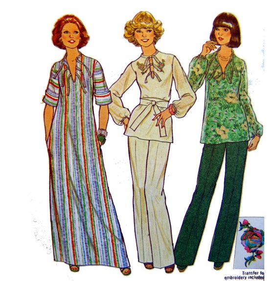 Tunic Dress Caftan Sewing Pattern Vintage 70s BoHo Hippie Top Simplicity 7466 Bust 32