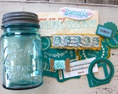 SALE Inspiration In A Jar- Teal Edition, Mason Jar, Baker's Twine, Vintage Stamp, Scrapbooking, Ephemera