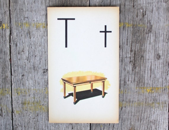 "Vintage Flashcard ""T"" -Table"