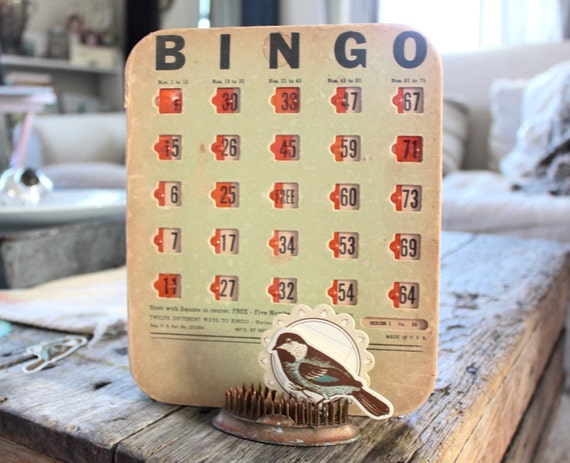 Vintage Bingo Card, Unique, Ephemera, Display