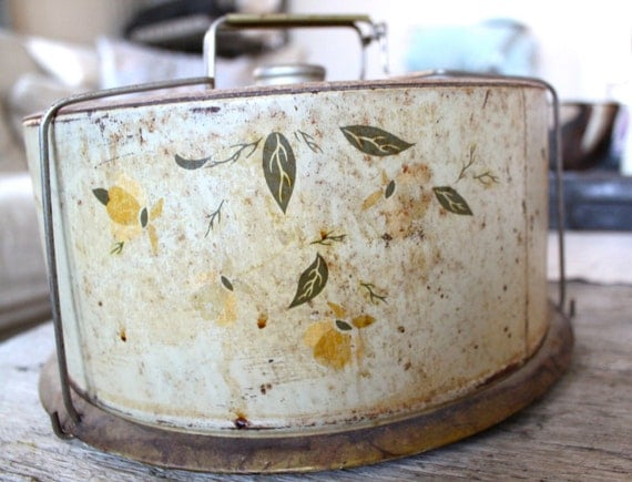 Vintage Shabby Chic Cake Plate, Yellow, Green, Kitchen Decor, Holiday Entertaining