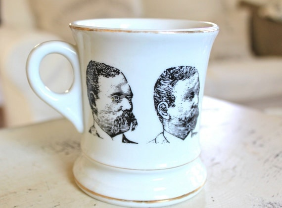 Vintage Mustache Mug, Black and White, Mustache Bash, Gifts for Guys
