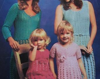 Vintage Digital Pattern - Mother Daughter Dresses to Crochet - PDF Email Delivery - PrettyPatternsPlease