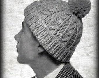 Vintage Mens Cable Hat Knitting Pattern - PDF Instant Download - PrettyPatternsPlease