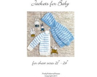 Vintage Digital Pattern - Striped Hoodie and Cardigan Sweaters to Knit  for Baby Boys- PDF Email Delivery - PrettyPatternsPlease